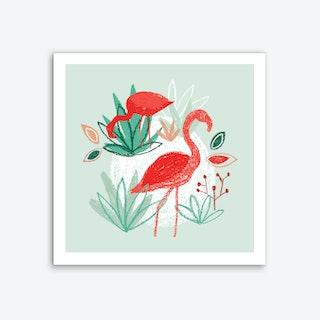 Two Flamingos Art Print