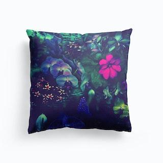 Gathering Of Flowers Purple Cushion