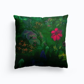 Gathering Of Flowers Green Cushion