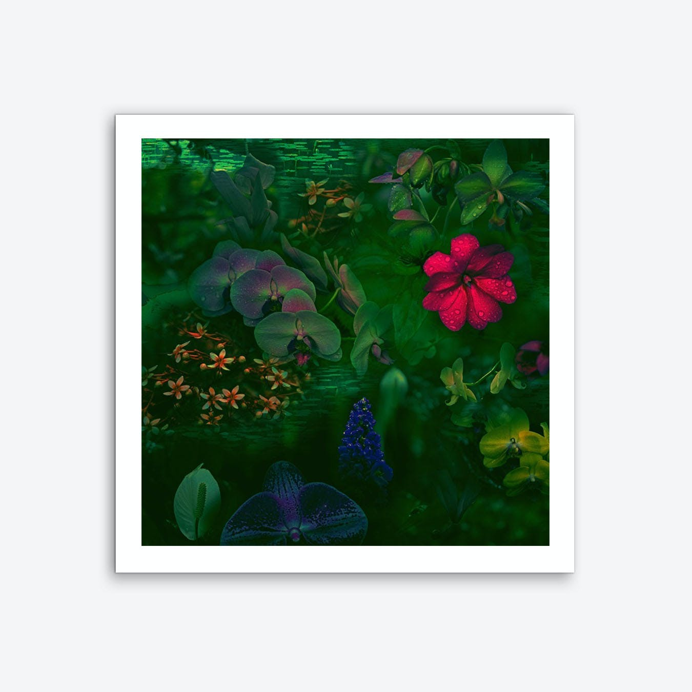 Gathering Of Flowers - Green Art Print