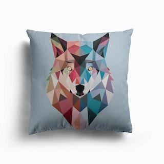 Geo Wolf Canvas Cushion