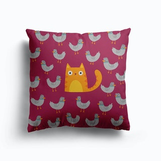 Cat Among The Pigeons Canvas Cushion