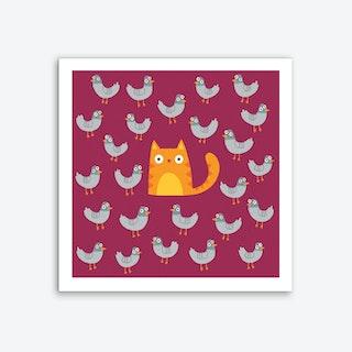 Cat Among The Pigeons Art Print