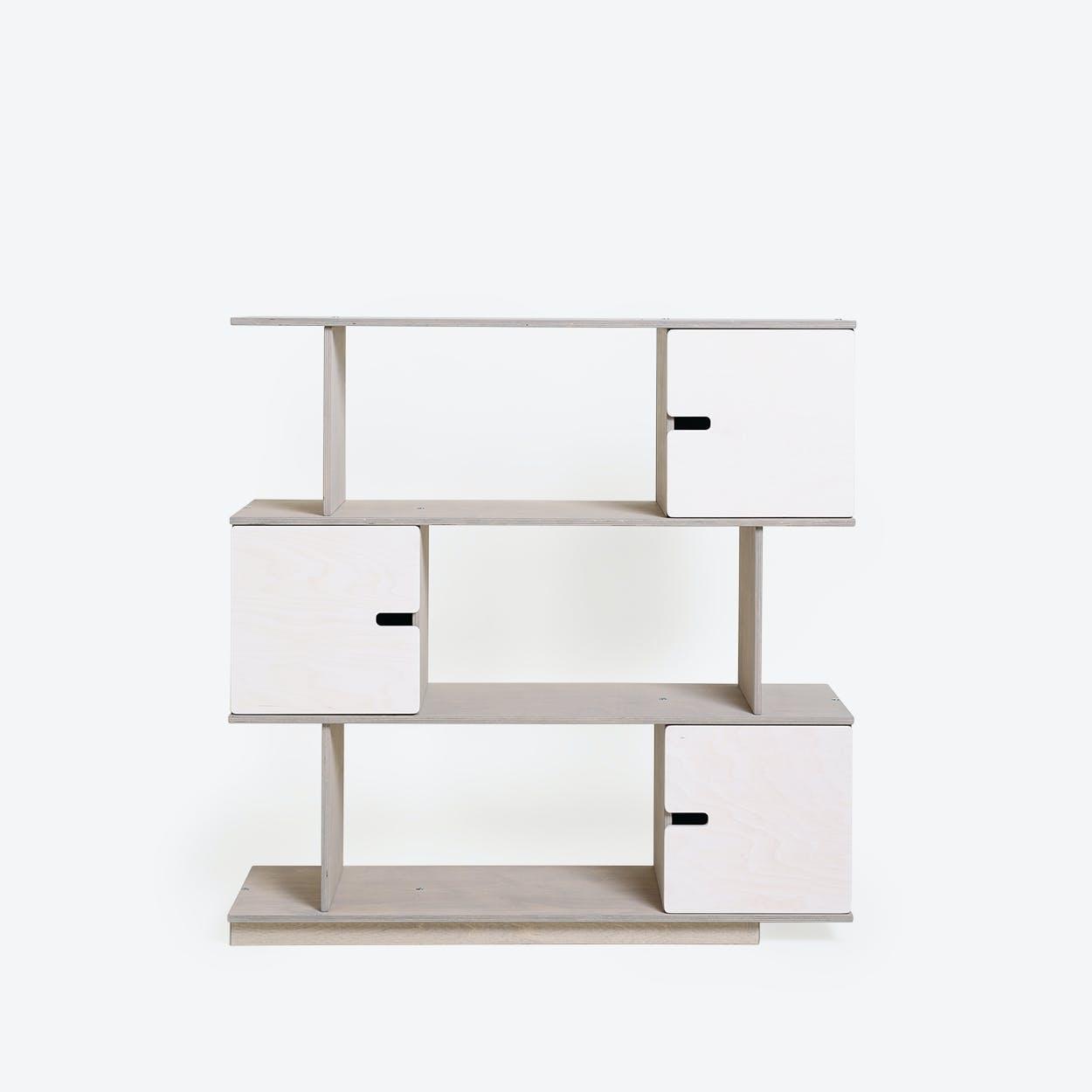Shelf PIX 3-Levels Light Grey/White