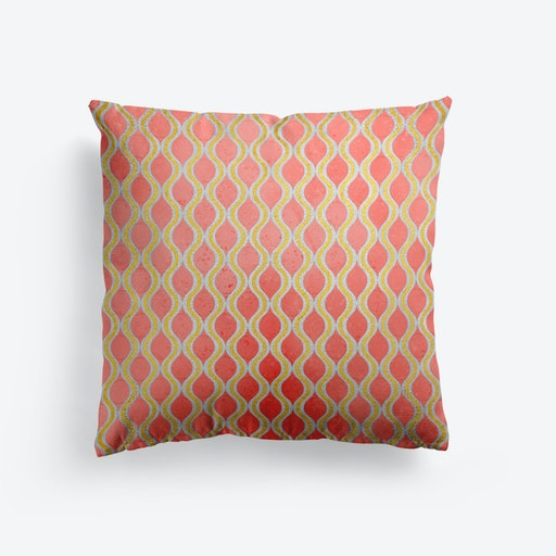 Gold   Living Coral Pattern I Cushion