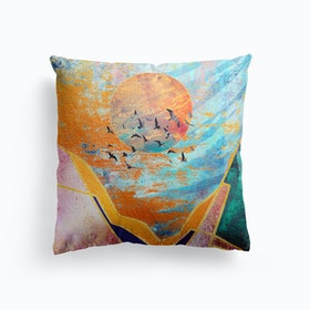 Abstract Sunset Illustration VI Cushion