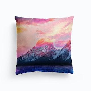 Modern Digital Artwork VI Wyoming Mountains Cushion