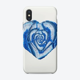 Blue Agate Geode Crystal Heart iPhone Case