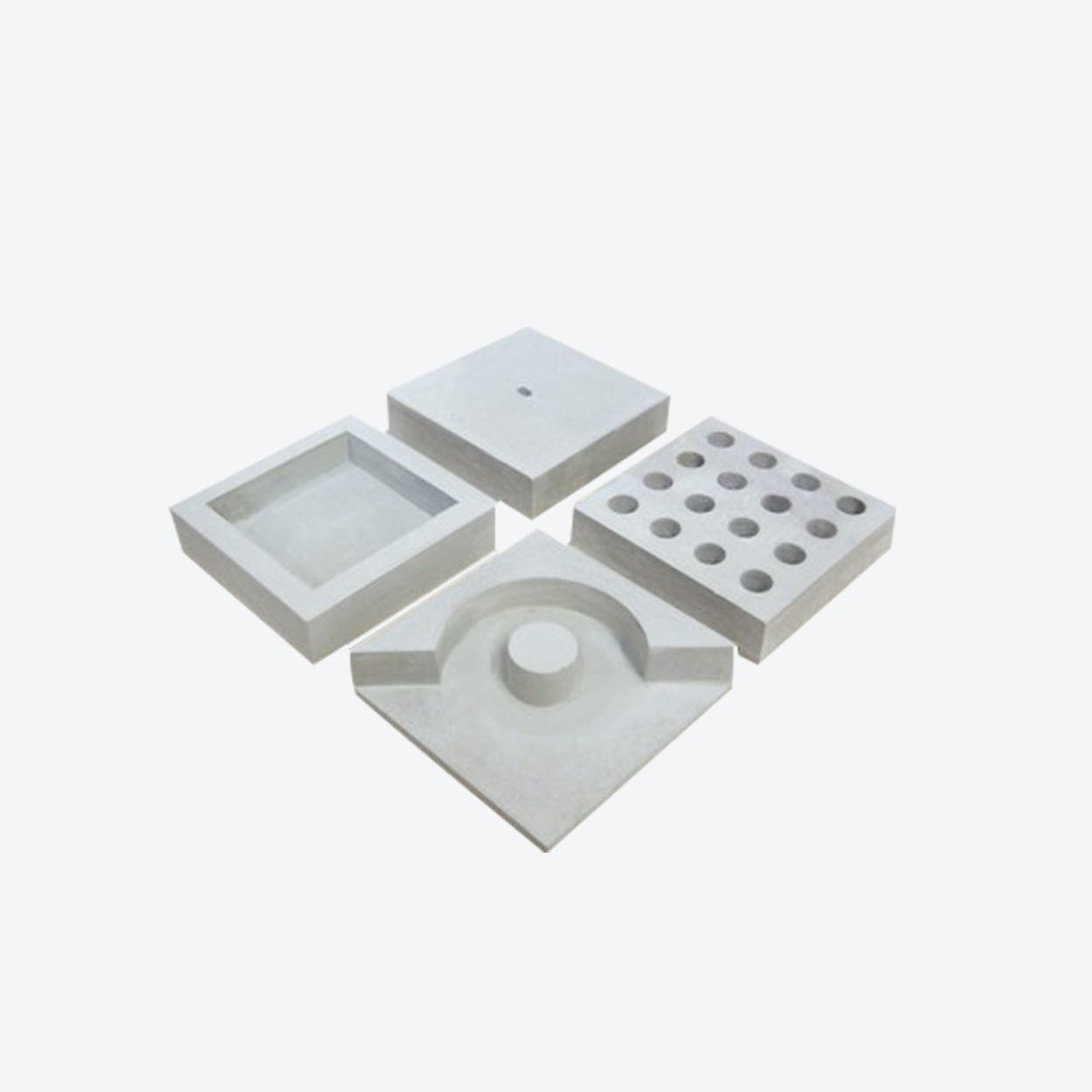 Slabs -  Desk Organizer in Light Grey Concrete (4 Pieces Set)