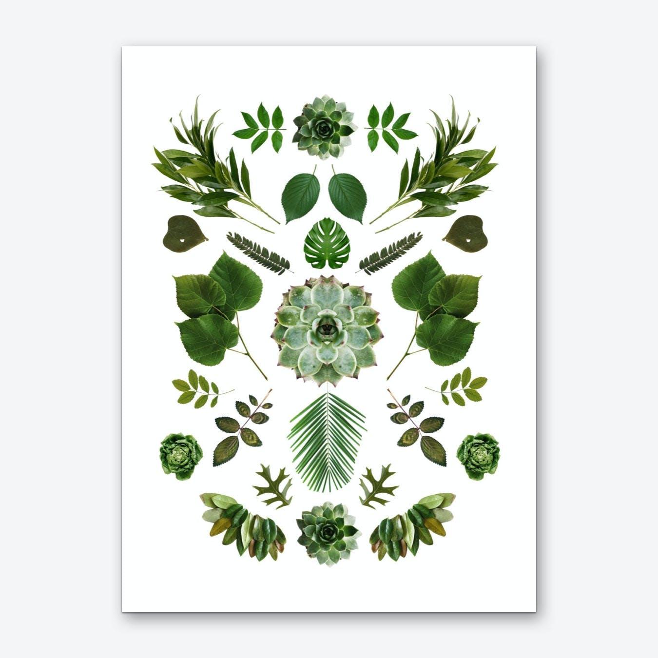 Green Collage Art Print
