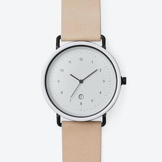 B306 Watch (WHI/  BLK CASE / RAW STRAP)