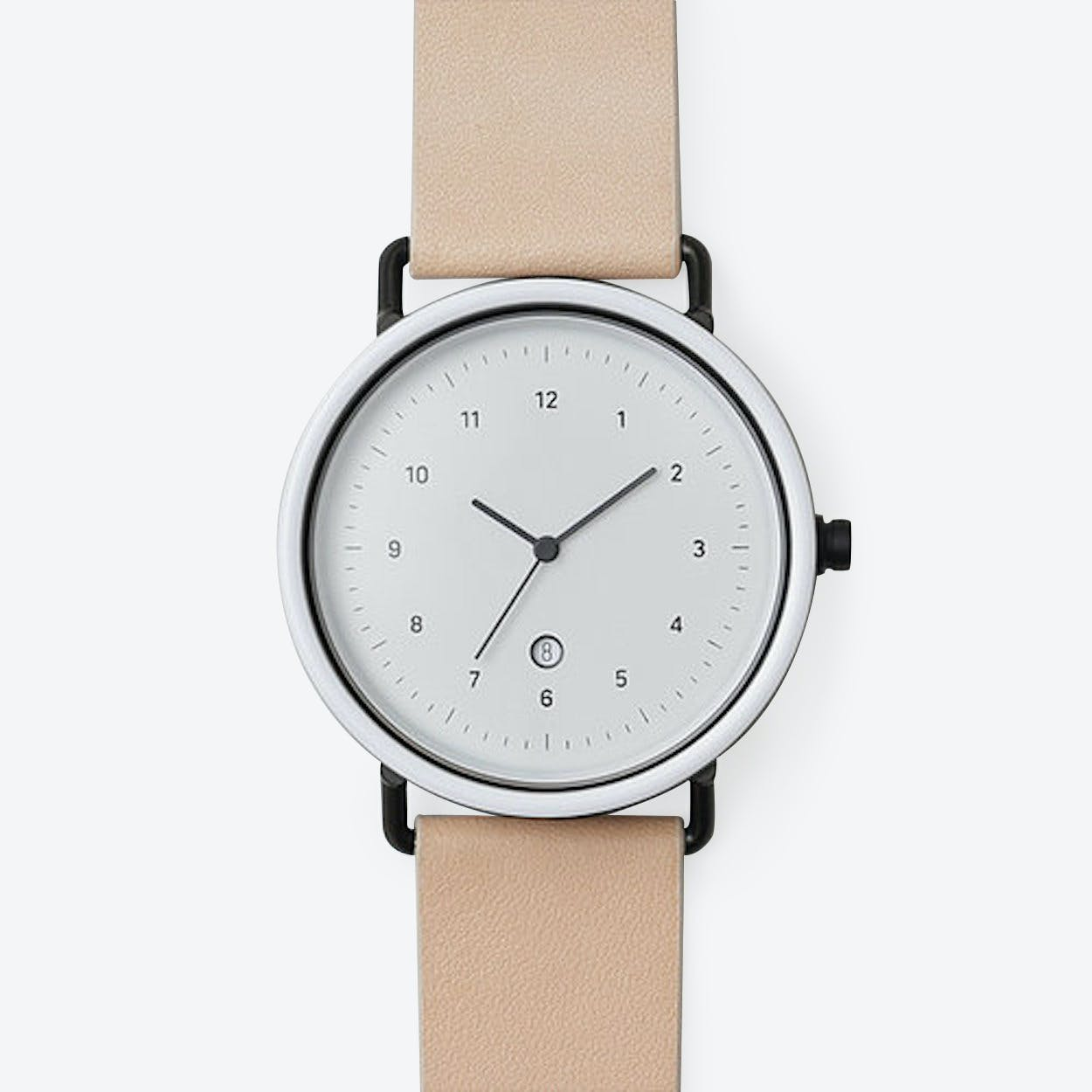 B306 Watch (WHI/  BLK CASE / RAW STRAP)