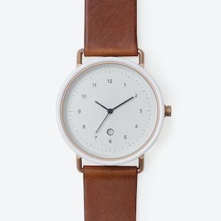 R406 Watch (WHI/ R.GLD CASE/ COG STRAP)