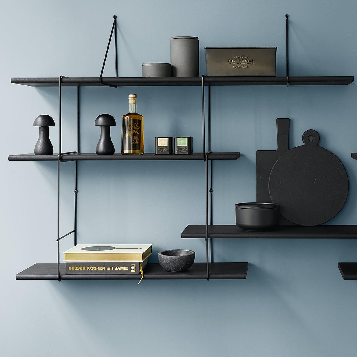 Link Shelf Duo - Black Ash Wood/Black Brackets