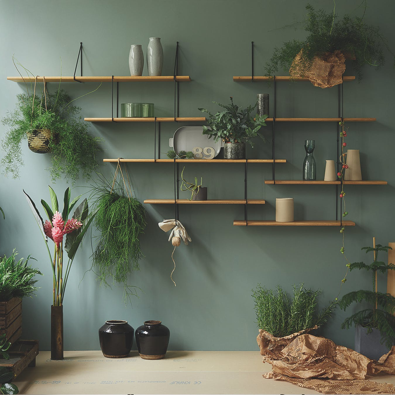 LINK Shelf, Setup 2, in Oak/Black