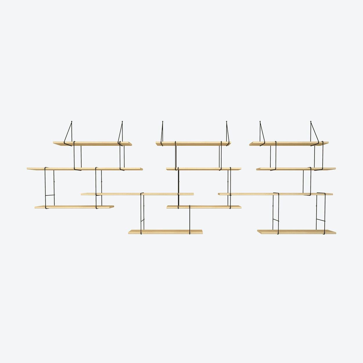 Link Shelf Trio - Ash Wood/Black Brackets