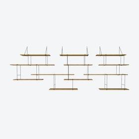 Link Shelf Trio - Oak Wood/Black Brackets