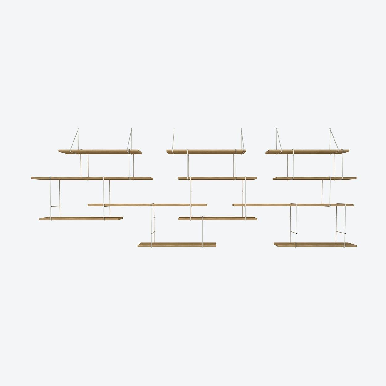 Link Shelf Trio - Oak Wood/White Brackets