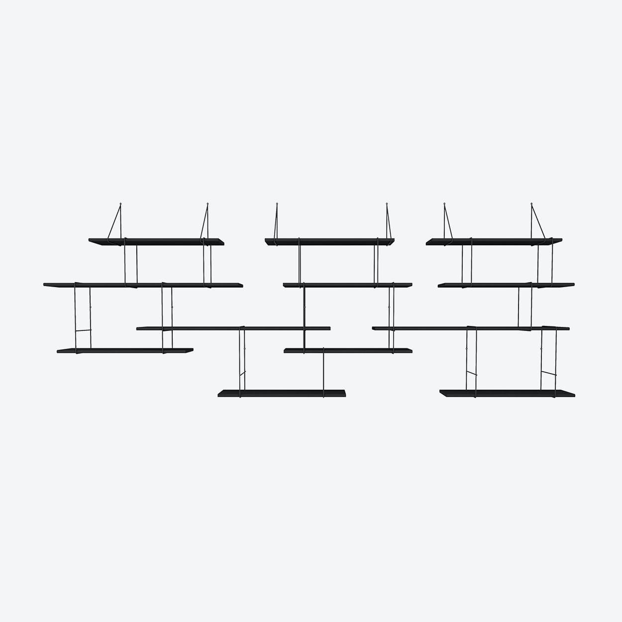 Link Shelf Trio - Black Ash Wood/ Black Brackers