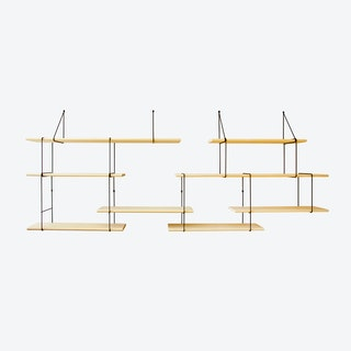 Link Shelf Duo - Ash Wood/Black Brackets