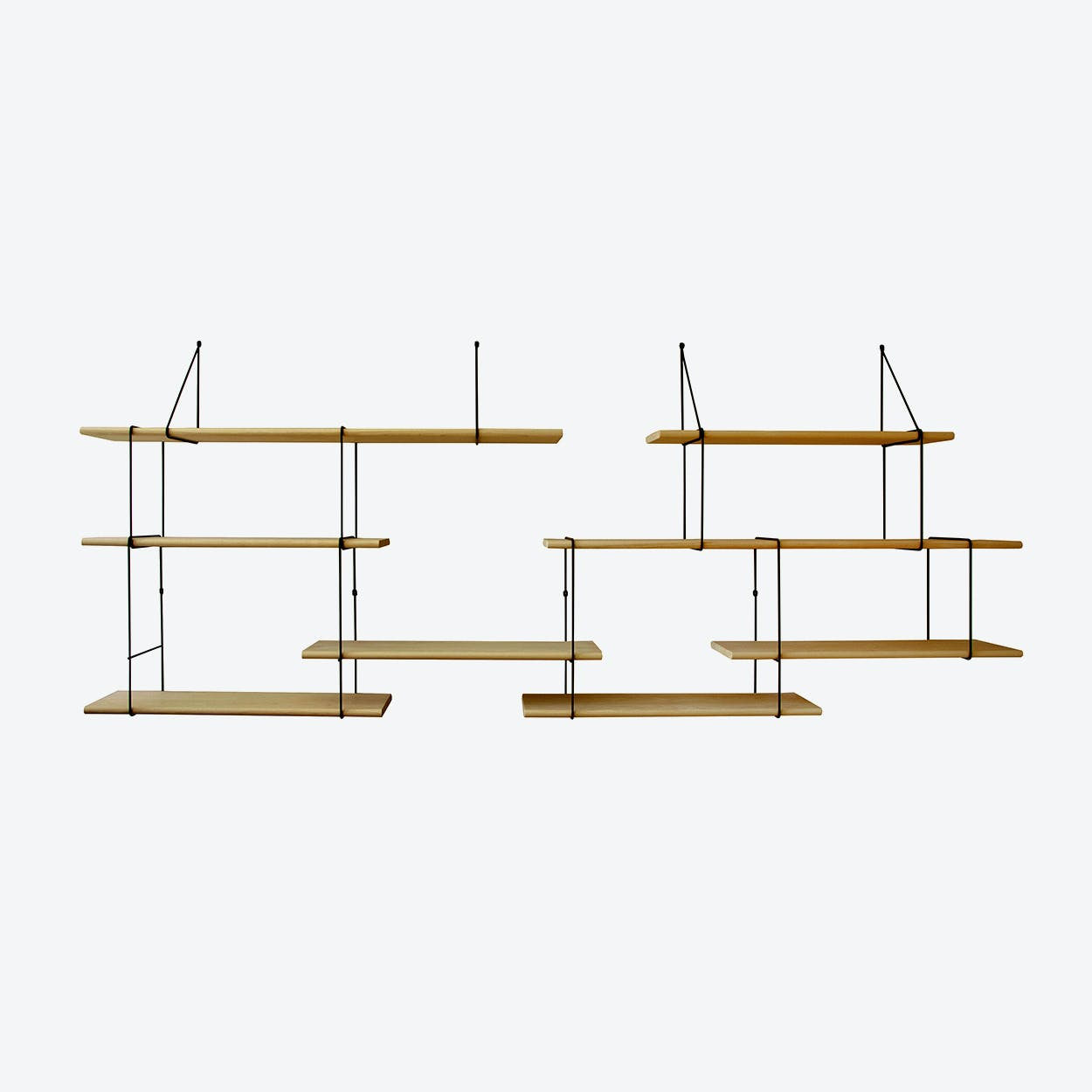 Link Shelf Duo - Oak Wood/Black Brackets