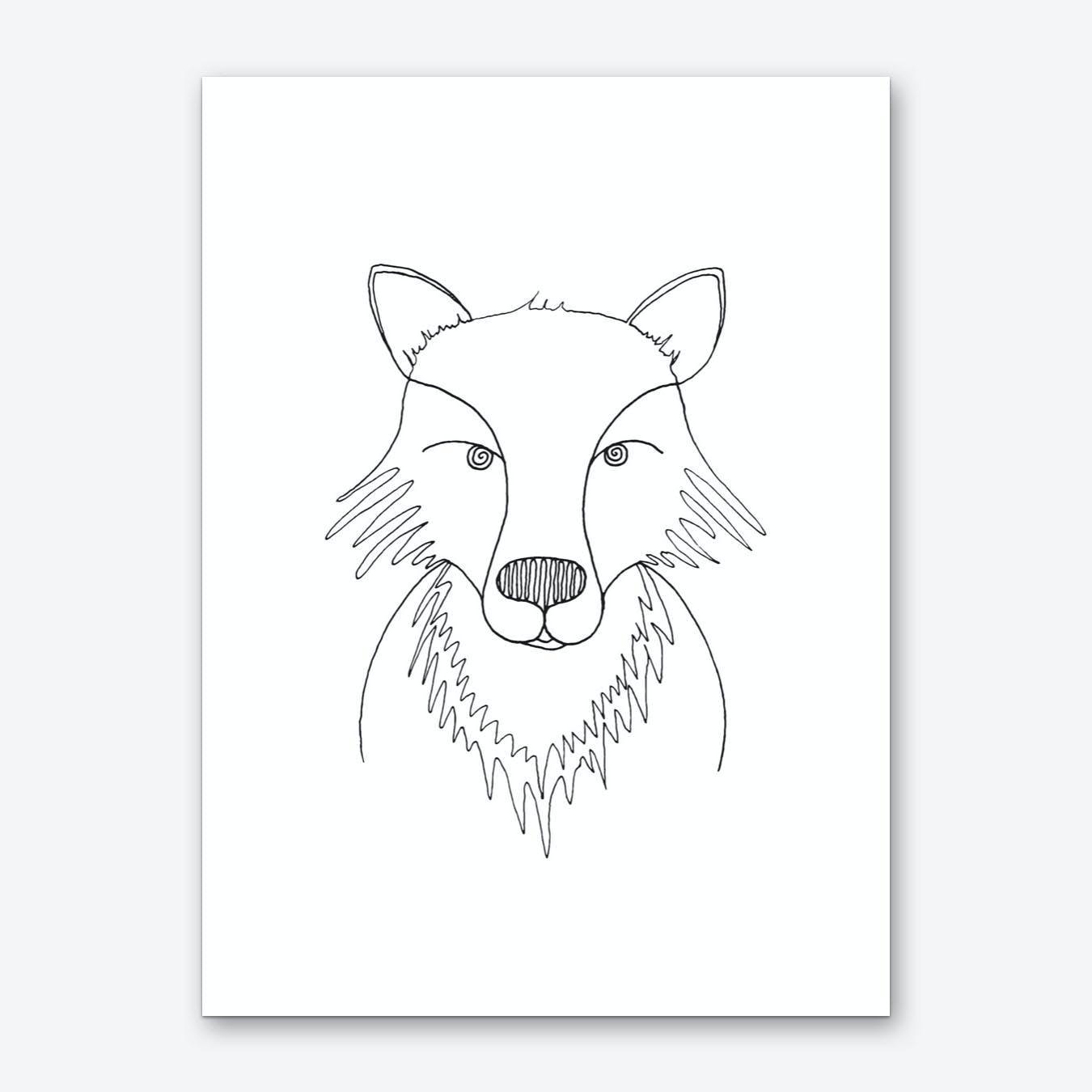 Line Fox Art Print