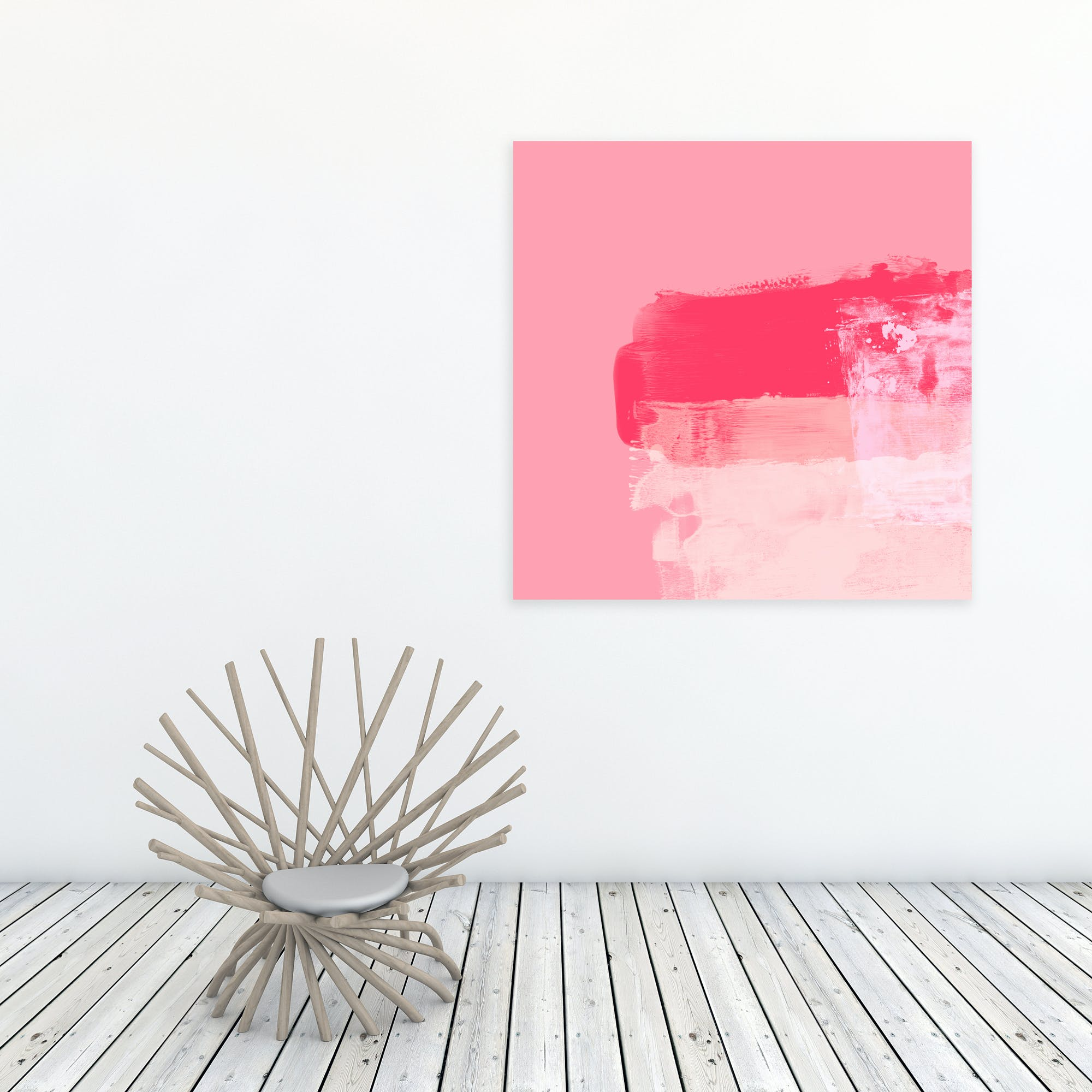 Minimalistic ExpressiveAbstract In Pink Art Print