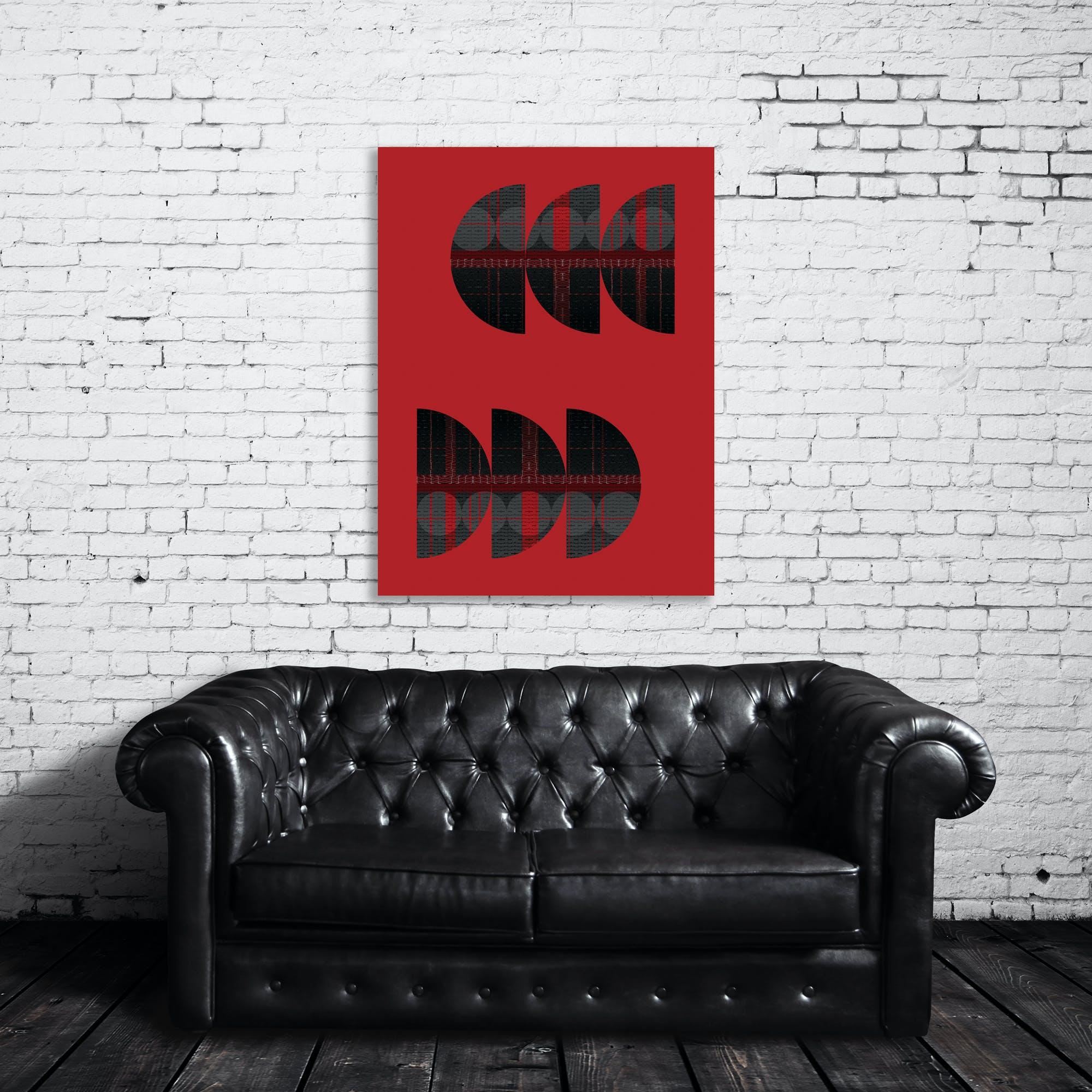 Geometric Semi Circle Reflection Grey On Red Art Print