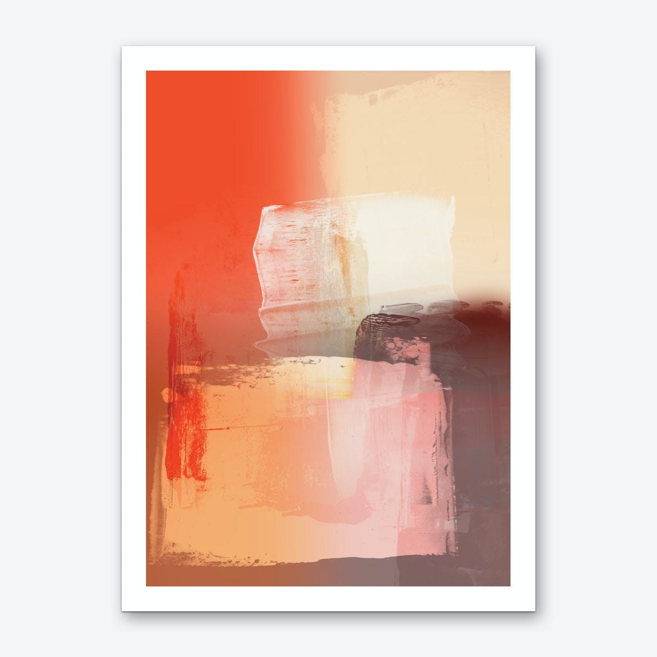 Abstract Brushmarks Orange Pinks Art Print