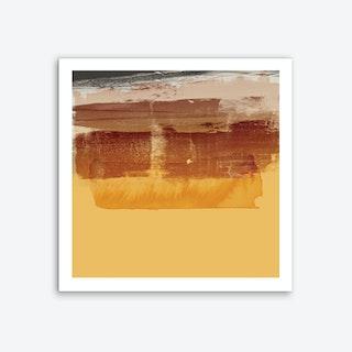 Yellow Brown Brush Stroke Abstract Art Print