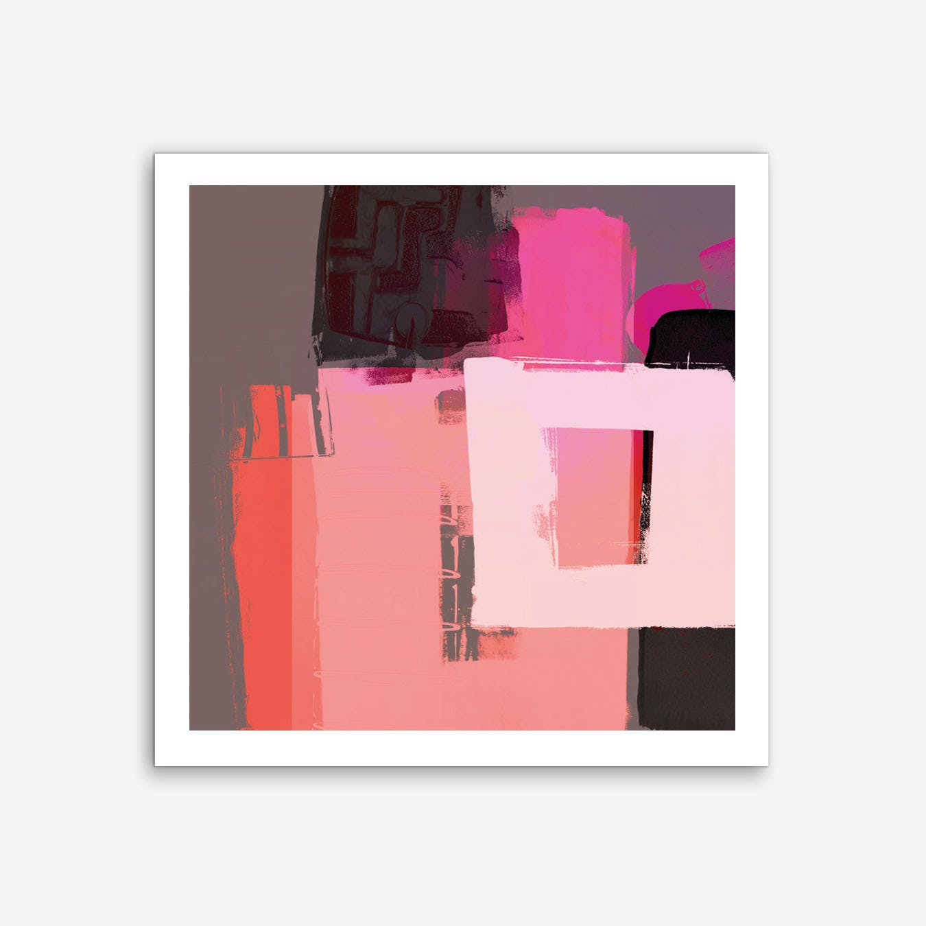 Abstract Composition In Orange Pink  Art Print