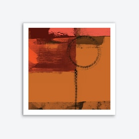 Orange Brown Abstract With Circle Overlays Art Print