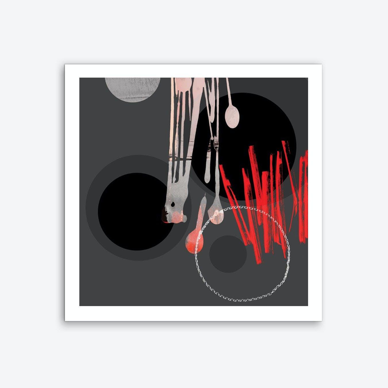 Abstract Circles Black Grey Red Art Print