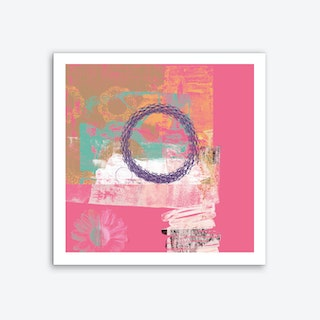 Pink Textures With Shapes & Flower Art Print