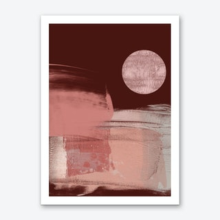 Abstract Maroon Pink With Disc Art Print