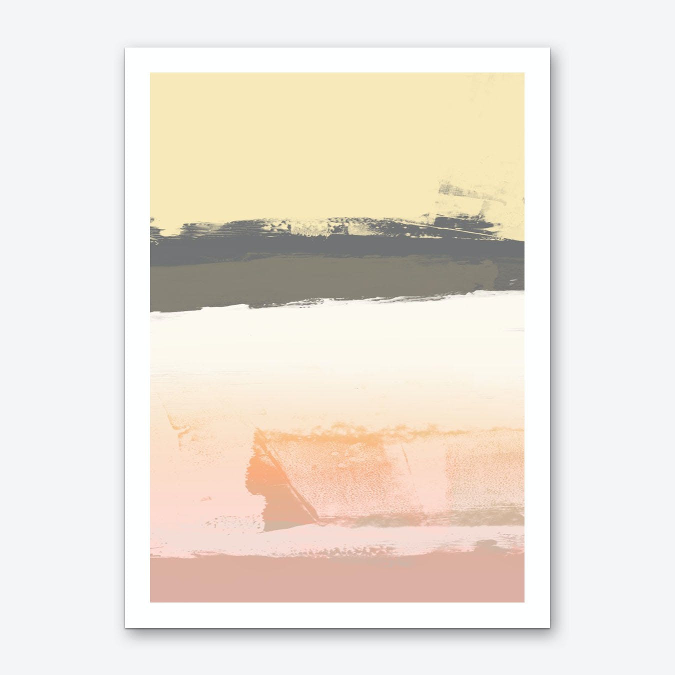 Subtle Yellow Peach Expressive Abstract Art Print