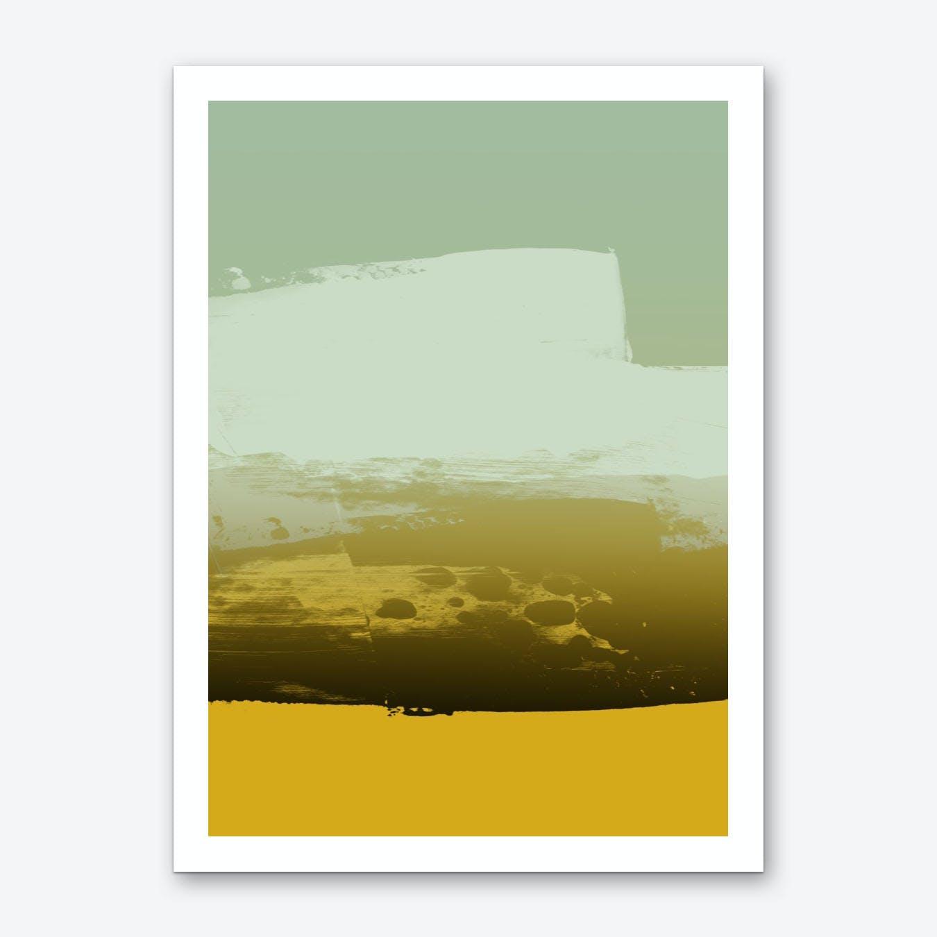 Expressive Horizontal Marks In Green Yellow  Art Print