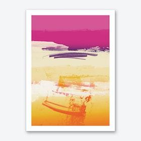 Expressive Landscape Pink Violet Orange With Scribbles Art Print