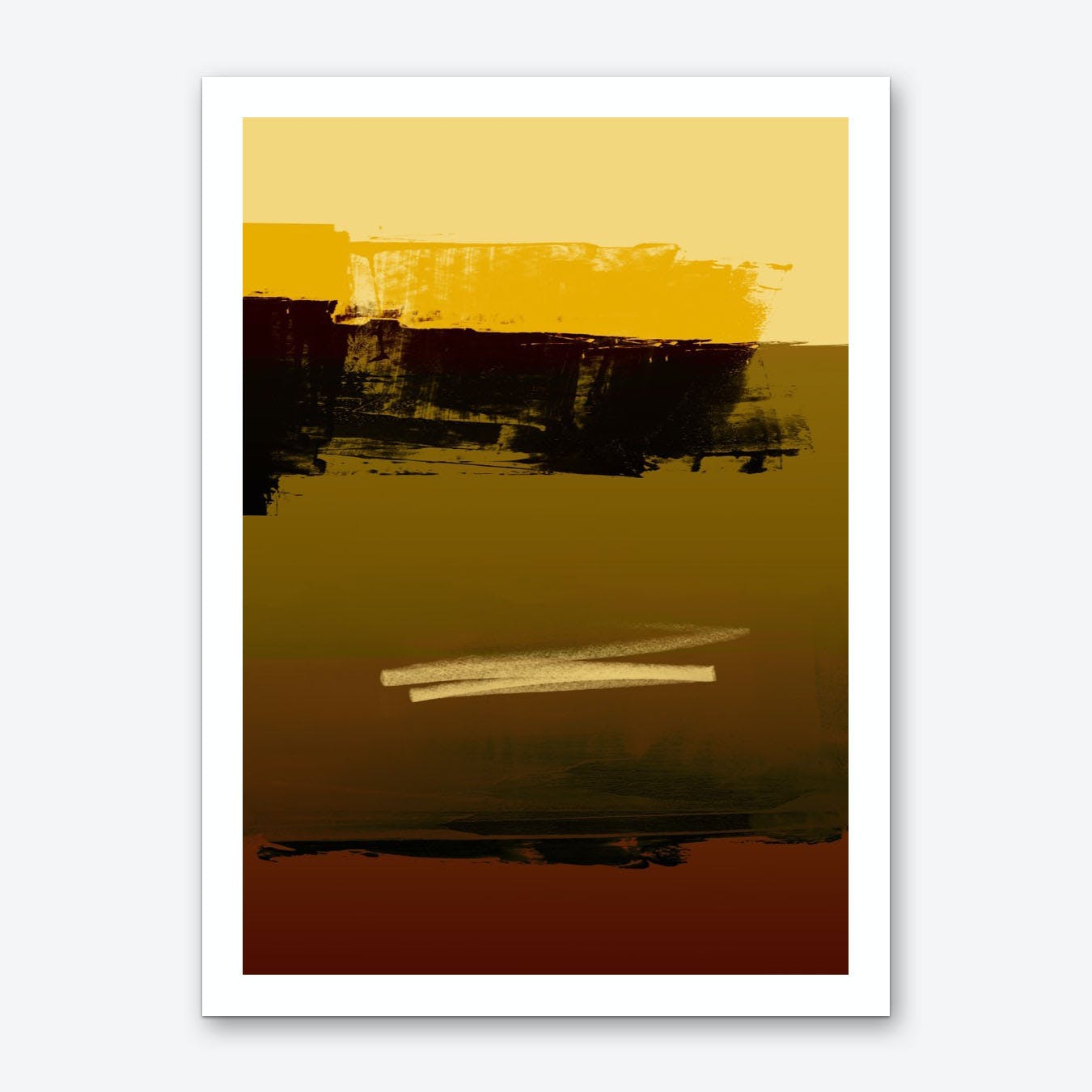 Olive Brown Yellow Expressive Abstract Art Print
