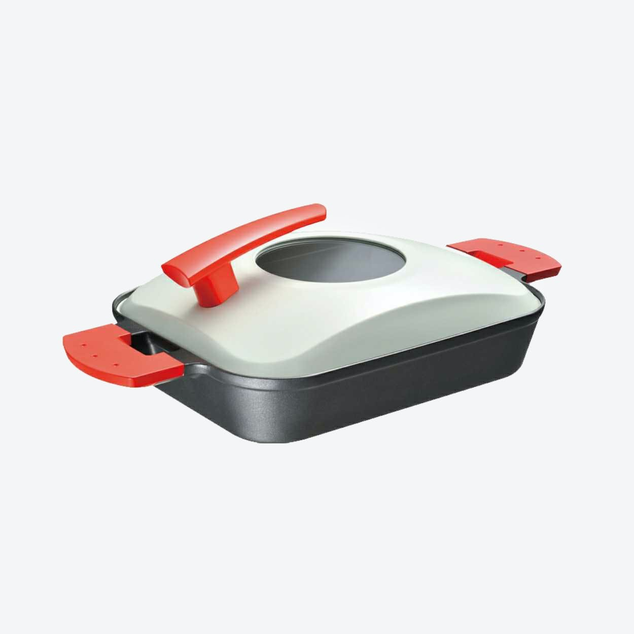Steam Grill with Metal Cover in Red
