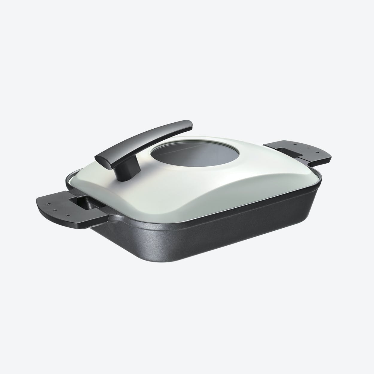 Steam Grill with Metal Cover in Black