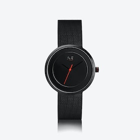 J&M Watch M Nordic360 W6 in Black with Black Mesh Strap
