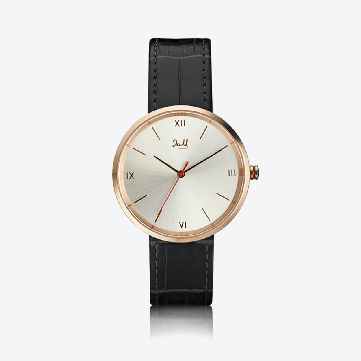 J&M Watch M Nordic360 M1 in Rose Gold with Black Leather Strap