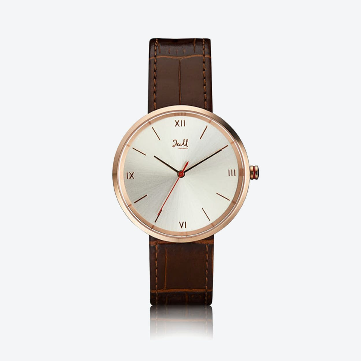 J&M Watch M Nordic360 M2 in Rose Gold with Dark Brown Leather Strap