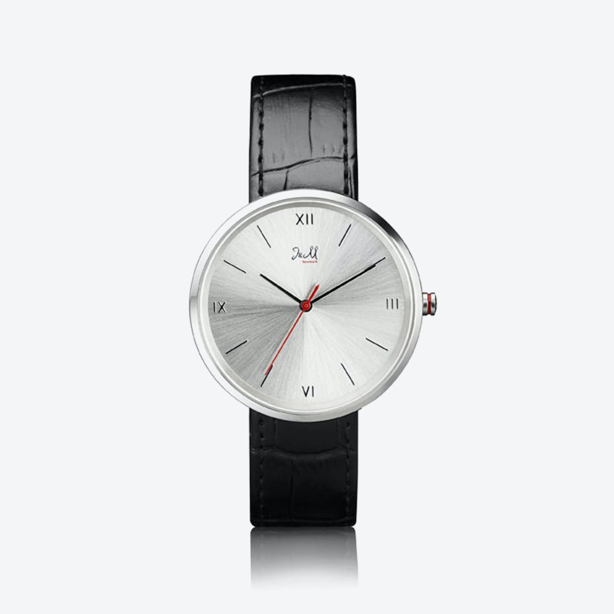 J&M Watch M Nordic360 M3 in Rose Gold with Black Leather Strap