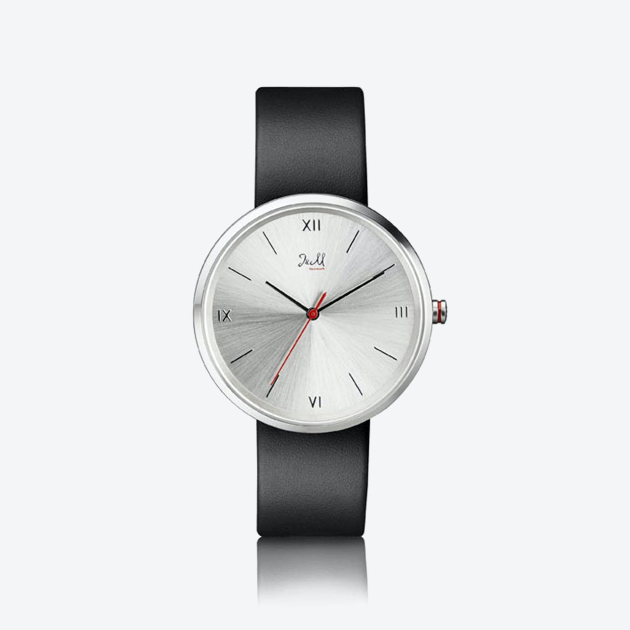 J&M Watch M Nordic360 M4 in Silver with Black Leather Strap