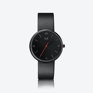 J&M Watch M Nordic360 M5 in Silver with Black Leather Strap