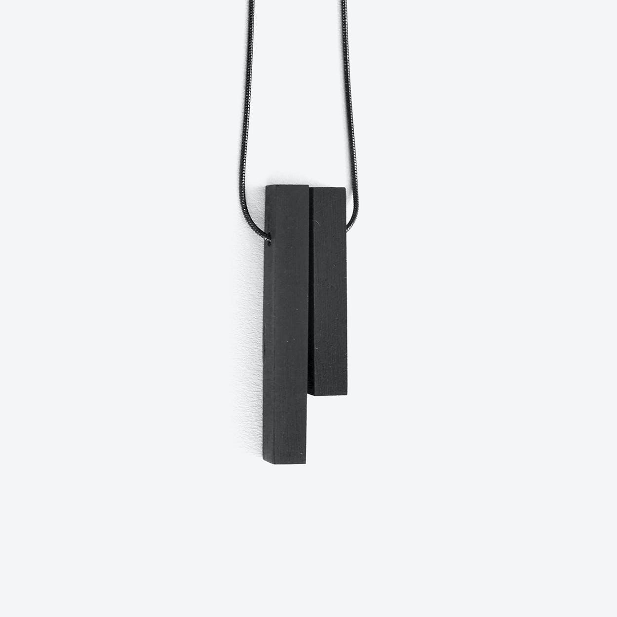 Mini Column Black - 2 pieces Concrete Necklace