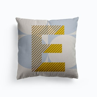 E Typeface Alphabet Canvas Cushion
