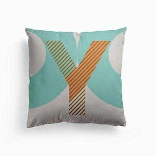 Y Typeface Alphabet Canvas Cushion
